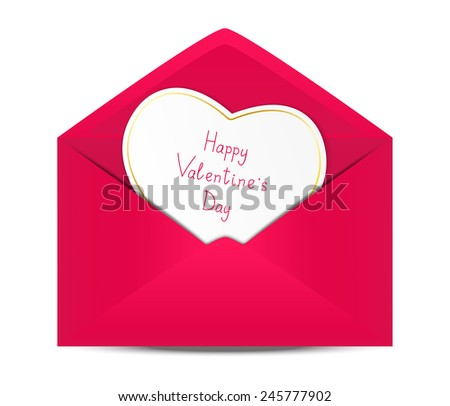 Valentines day card in paper envelope - stock photo
