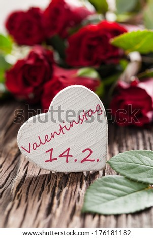 valentines day card with german text valentinstag 14.2. - stock photo