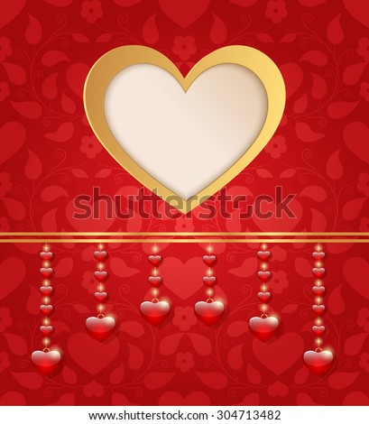 Valentines day card with heart.  - stock photo