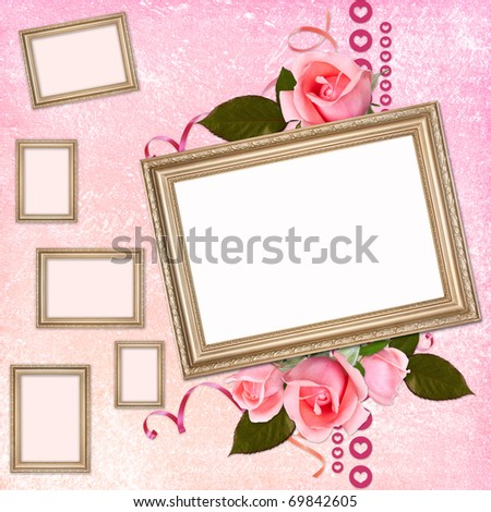 Valentines day card with hearts - stock photo