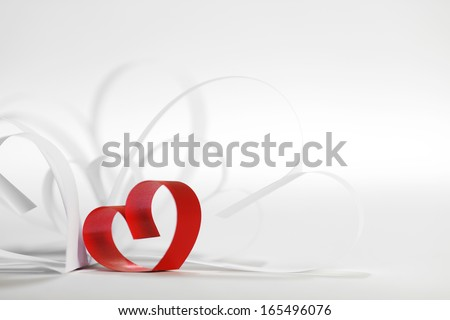 Valentines day card with paper and ribbon hearts on white - stock photo