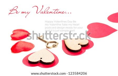 Valentines day card with red hearts and key - stock photo