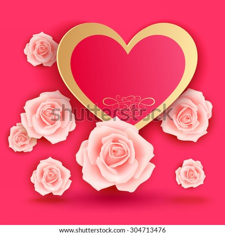 Valentines day card with roses - stock photo