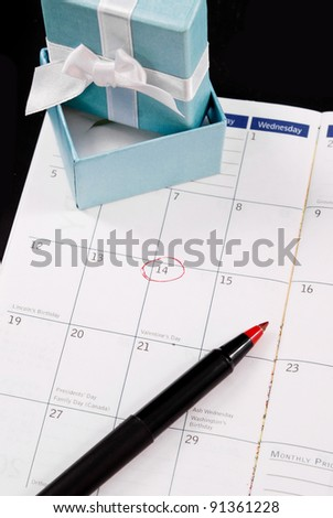 Valentines Day Circled in Red on Planner - stock photo