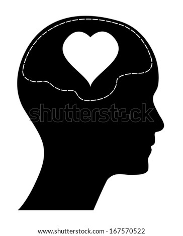 Valentines day concept design, raster version. Human head with brain and heart. Isolated easy to edit illustration.  - stock photo
