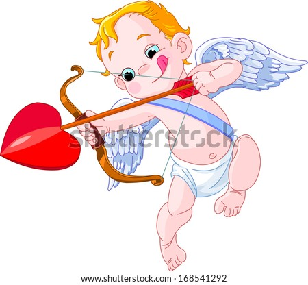 Valentines Day Cupid ready to shoot his arrow. Raster version.  - stock photo