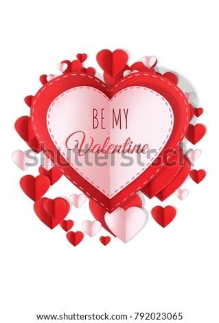 Valentines Day Design Hearts Stock Illustration 792023065 ...