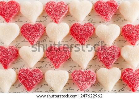 Valentines Day dessert gummy candy love hearts - stock photo