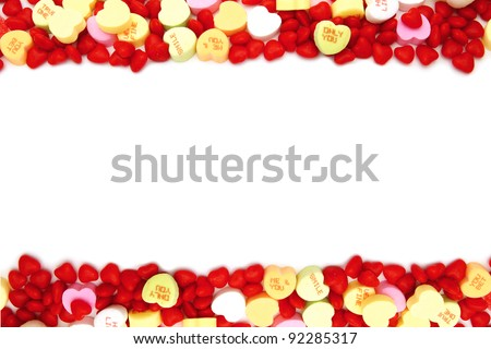 Valentines Day double edge border of assorted candy - stock photo