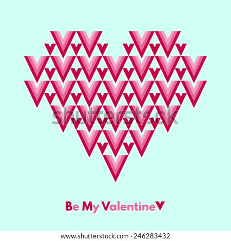 Valentines Day greeting card. Be My Valentine. Abstract geometrical heart with lettering. Conceptual, minimalist. Raster version. - stock photo