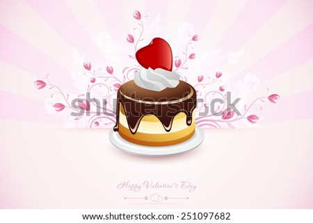 Valentines Day Greeting Card with Ornaments and Cupcake - stock photo