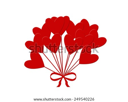 Valentines Day Heart Balloons on White Background - stock photo