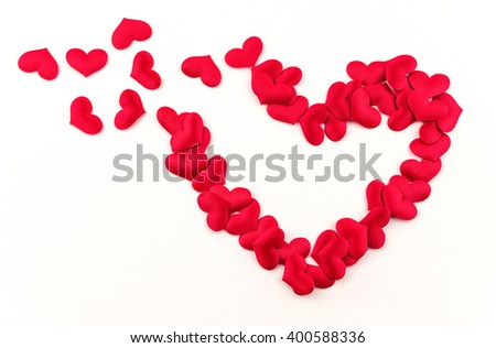Valentines Day Heart Made of Red little cloth material hearts Isolated on White Background. Big Red Love Heart / seamless close up gift card / wedding - stock photo