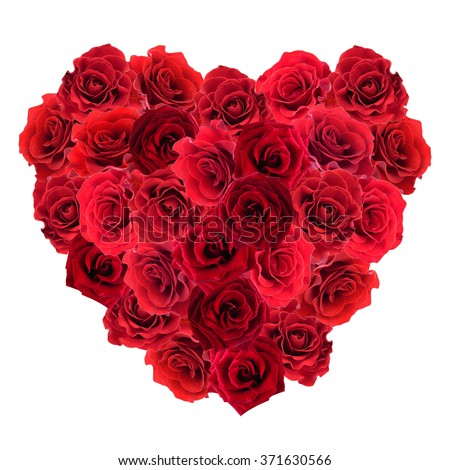 Valentines Day heart made of red roses isolated on white - stock photo