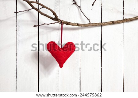 Valentines Day Heart on White Wooden Background - stock photo
