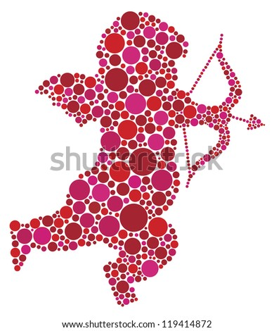 Valentines Day Love Cupid with Bow and Arrow Silhouette Filled with Pink and Red Polka Dots Raster Vector Illustration - stock photo