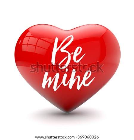 Valentines day love heart with romantic message - stock photo