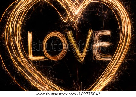 Valentines Day -  Love sparkler firework light alphabet - stock photo