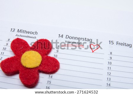 Valentines day marked in a calendar - stock photo