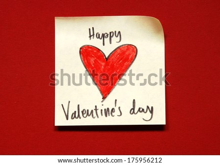 valentines day note - stock photo