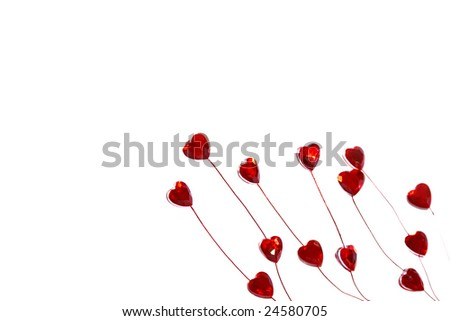 Valentines' day ornaments Red Hearts on white isolated background