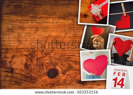 Valentines day picture collage, stack of retro toned photos on wooden board as copy space background.