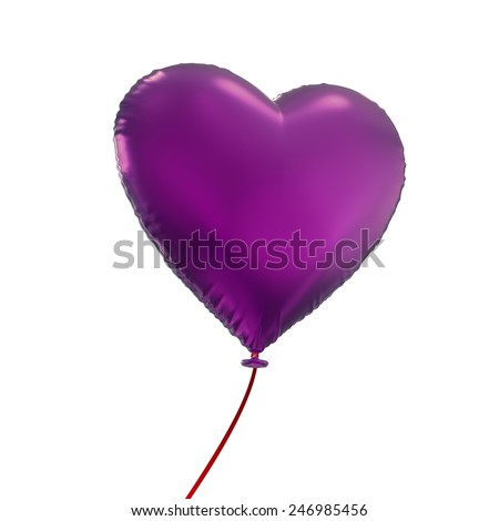 Valentines day purple heart balloon, 3d object isolated on white background - stock photo