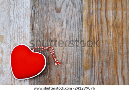 Valentines Day - red heart on wooden background - stock photo