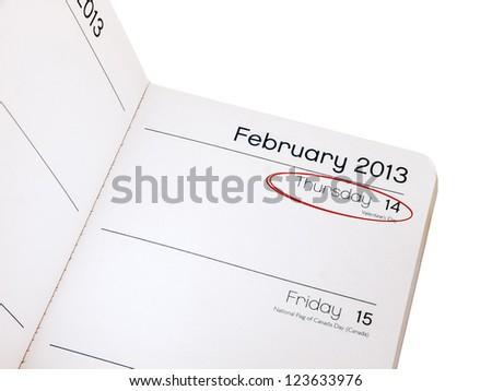 Valentines day reminder - diary February 14 2013 - stock photo