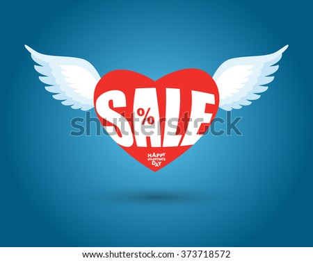 Valentines day sale. Red heart with wings. Sales, discount in February. 14 February holiday lovers. Clearance sale for lovers.