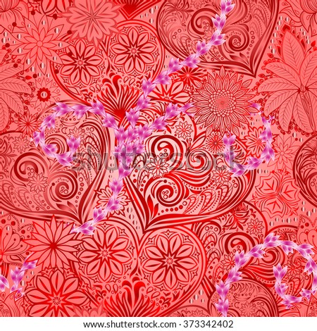 Valentines Day seamless background with hearts and flowers. Hand drawing floral motif vintage texture.