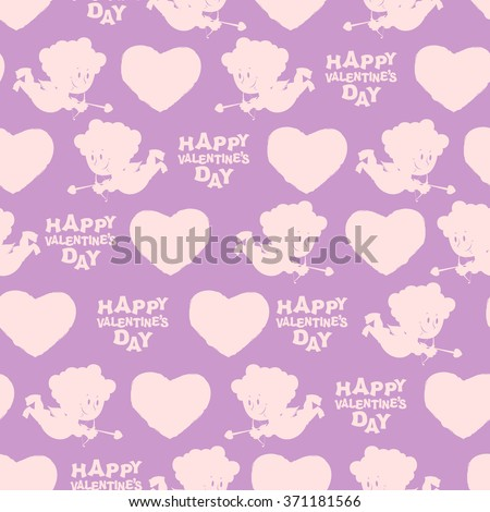 Valentines day seamless pattern. Silhouette of Cupid. Pink Angel on purple background. Romantic texture for Valentine's day 14 february.