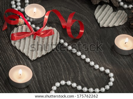 Valentines day setting with pearls - stock photo