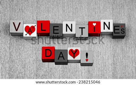 Valentines Day - sign or design / card template for love, romance and Valentines day, in red, black and white. - stock photo