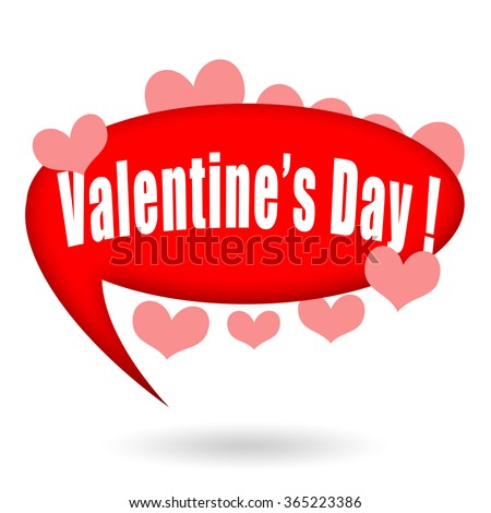 Valentines Day speech bubble and love hearts - stock photo
