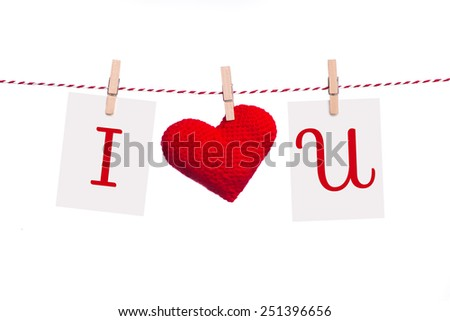 Valentines Day Sweet holiday background, hearts and greeting card on white background. I love you concept. - stock photo