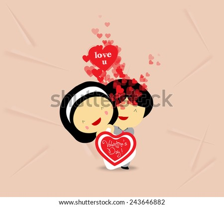 valentines day sweet love couple with hearts - stock photo
