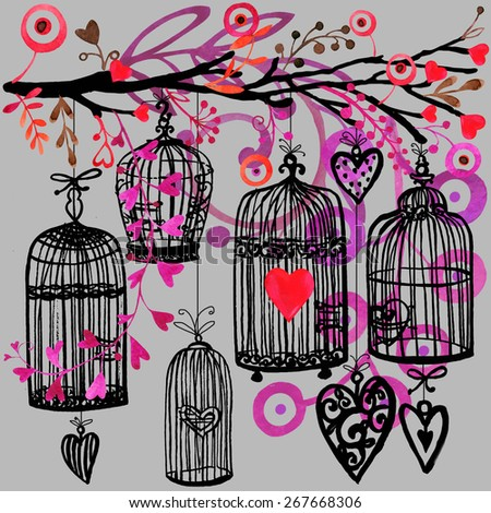 Valentines day vintage background with birds, red heart and bird cage. watercolor