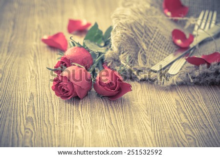 Valentines day with roses - stock photo
