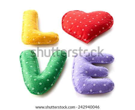 Valentines Day. Word Love dots, Heart Handmade. Vintage style. Love concept on white background  - stock photo