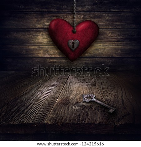 Valentines design - Locked Heart in chains. Love concept Illustration with heart hanging on chains with keyhole and vintahe key on wooden background. - stock photo