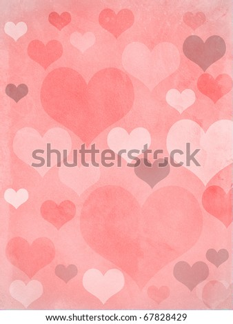 valentines hearts in pink, with a grungy background texture - stock photo