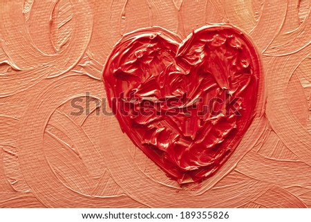 Valentines love heart original painting background - stock photo