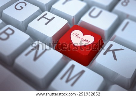 Valentines love hearts against red key on keyboard