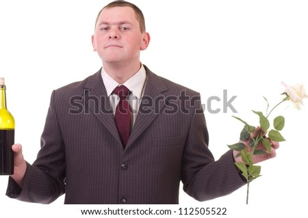 Valentines Man with flowers and wine bottle isolated on white background - stock photo