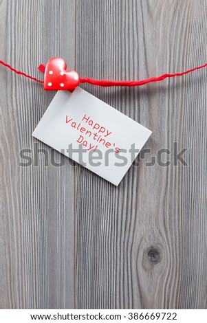 Valentines note, red buled heart - stock photo