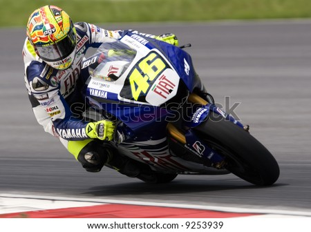 Valentino Rossi at 2008 pre-season test in Sepang, Malaysia. - stock photo