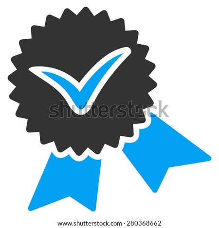 Validation seal icon from Competition & Success Bicolor Icon Set. This isolated flat symbol uses modern corporation light blue and gray colors. - stock photo