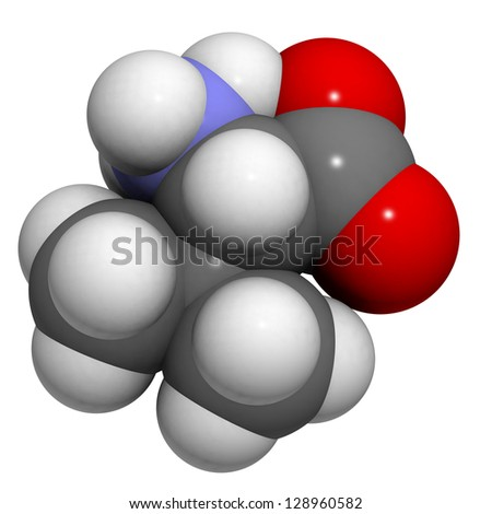 Valine (Val, V) amino acid, molecular model. Amino acids are the building blocks of all proteins. Atoms are represented as spheres with conventional color coding: hydrogen (white), carbon (grey), etc - stock photo