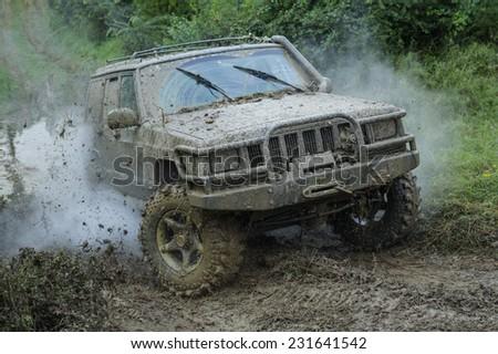 Valjevo city,Serbia - September 14. 2014. Vehicle Jeep in rally race in Valjevo city - stock photo
